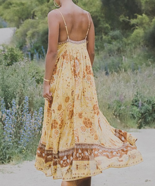 Spell & The Gypsy Mystic Strappy Maxi Dress Sunflower