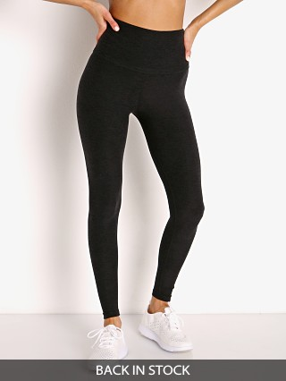 Model in darkest night Beyond Yoga Spacedye High Waisted Midi Legging