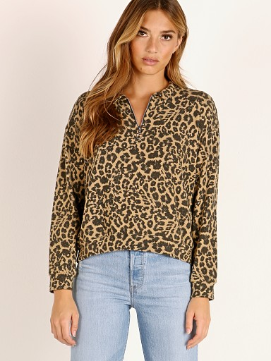 LNA Clothing Zip Collar Sweater Brushed Leopard