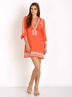 Spell Santorini Embroidered Tunic Dress Burnt Orange