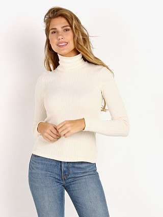 LACAUSA Sweater Rib Turtleneck Parchment