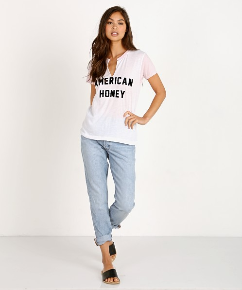 WILDFOX Woody Tee American Honey Clean White/Babydoll Pink
