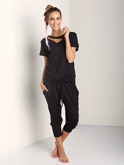 Three Dots Pleated Capri Pant Black