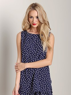 Three Dots Polka Dot Boat Neck Top Evening Blue