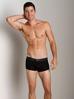 Emporio Armani Pima Rib Stretch Cotton Trunk Black