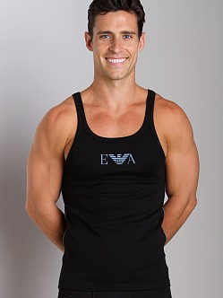 Emporio Armani Pima Rib Stretch Cotton Tank Top Black