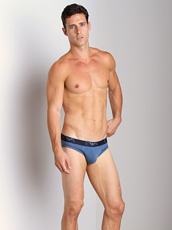 Emporio Armani All Over Logo Stretch Cotton Brief Printed Smokey
