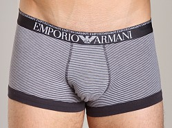 Emporio Armani Yarn Dyed Stretch Cotton Trunk White/Grey