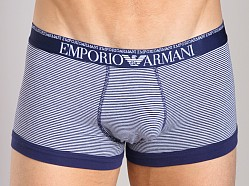 Emporio Armani Yarn Dyed Stretch Cotton Trunk White/Blueberry