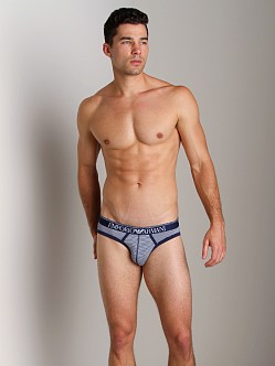 Emporio Armani Yarn Dyed Stretch Cotton Brief White/Blueberry