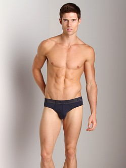 Emporio Armani Embossed Stretch Cotton Brief Marine
