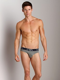 Emporio Armani Embossed Stretch Cotton Brief Sage
