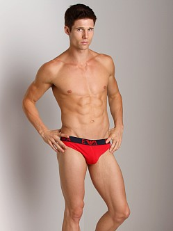 Emporio Armani Embossed Stretch Cotton Thong Red