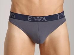 Emporio Armani Embossed Stretch Cotton Thong Grey