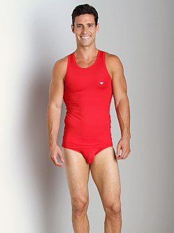 Emporio Armani Basic Stretch Microfiber Tank Top Red