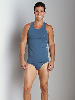 Emporio Armani Basic Stretch Cotton Tank Top Smokey Blue