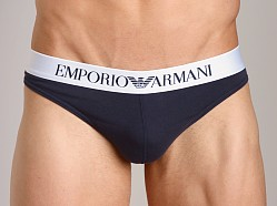 Emporio Armani Basic Stretch Cotton Thong Marine