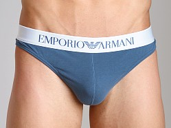 Emporio Armani Basic Stretch Cotton Thong Smokey Blue