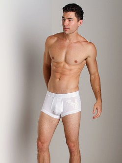 Emporio Armani Big Eagle Printed Stretch Cotton Trunk White