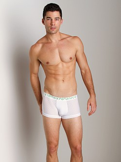 Emporio Armani Jersey Mesh Stretch Cotton Trunk White