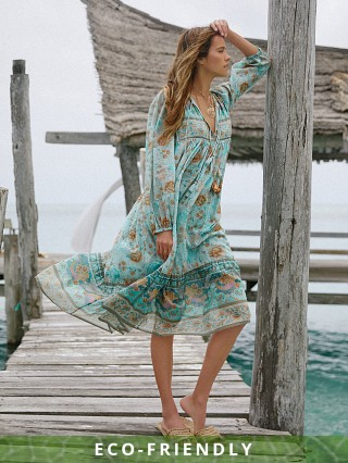 Spell & The Gypsy Seashell Boho Dress Seafoam