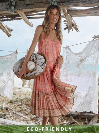 Spell & The Gypsy Seashell Strappy Midi Dress Coral
