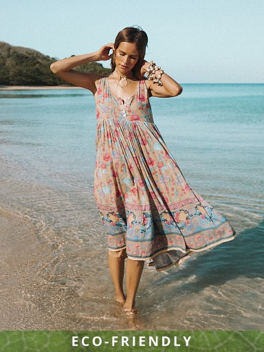 Spell & The Gypsy Seashell Babydoll Midi Dress Opal