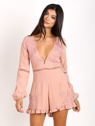For Love & Lemons Lilou Floral Romper Dusty Rose