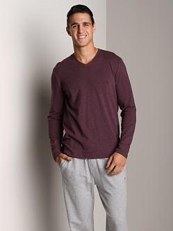 Hugo Boss Cotton Stretch Long Sleeve V-Neck Shirt Heather Plum