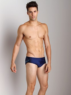 Speedo Poly Spandex Logo Brief Nautical Navy