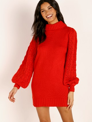 For Love & Lemons Knitz Francois Turtleneck Pointelle Dress Hot