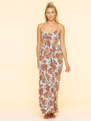 Model in fade rose Indah Innocence Cutaway Maxi Dress