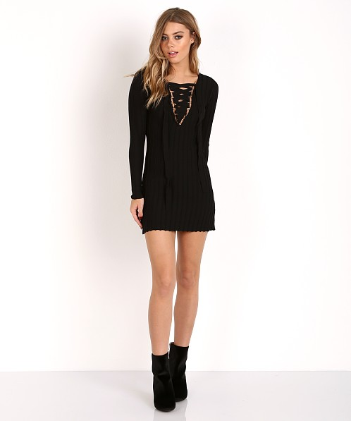 For Love & Lemons Knitz Simone Lace Front Dress Black