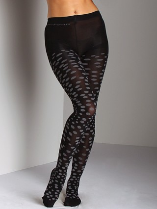 Cynthia Rowley Nylon Tight With Knit in Pattern Black/Grey
