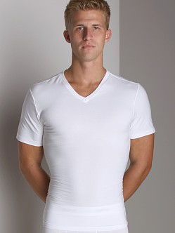 SPANX Cotton Compression V-Neck Shirt White