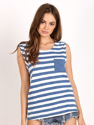 Splendid Indigo Rolled Sleeve Muscle Tank Stripe Medium Wash