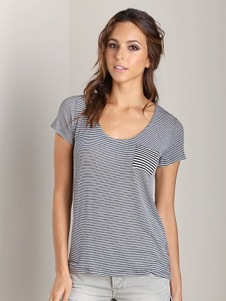 Splendid Pocket Tee Black Stripe