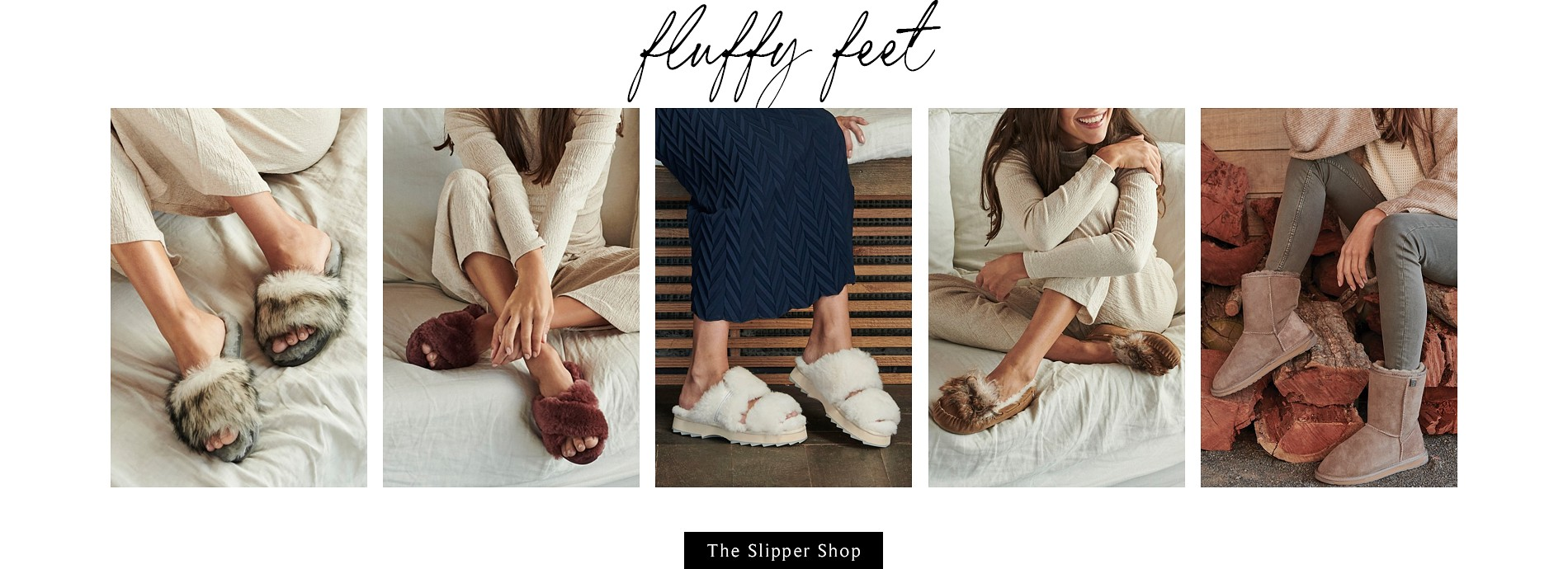 Fluffy slippers in neutral colors